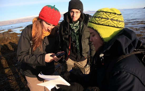 UC Westfjords Students in the Field Taking Measurements
