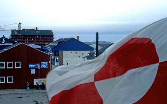 The Greenland flag in the capital Nuuk, Greenland http://grida.no/photolib/detail/the-greenland-flag-in-the-capital-nuk-greenland_2c65
