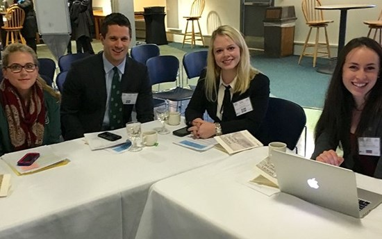 Dickey Center Lombard Fellowship recipient Sappho Gilbert MPH'14, Gregory Poulin MALS'16, Lauren Bishop D'19, and Sydney Kamen D'19 attending the Model Arctic Council simulation in Fairbanks, Alaska.