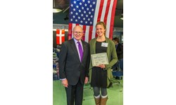 UAF student Carolyn Kozak with Admiral Robert Papp Jr., US State Department's special representative for the Arctic