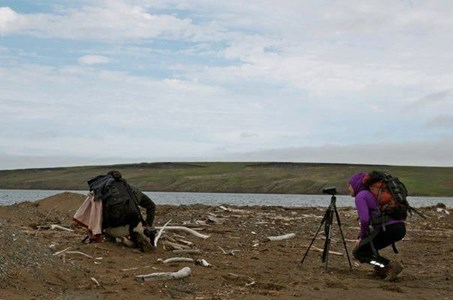 Filming the documentary on Qikiqtaruk, Herschel Island, Canada's Western Arctic