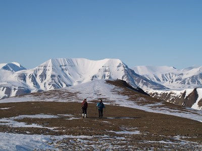 Kristen Peck hiking in Svalbard